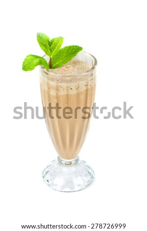 chocolate milk shake with mint leaves decorated - stock photo