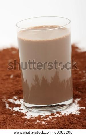Chocolate Milkshake and Cocoa powder - stock photo