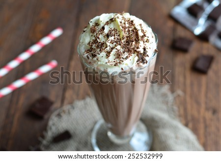 Chocolate Milkshake, selective focus close-up horizontal - stock photo
