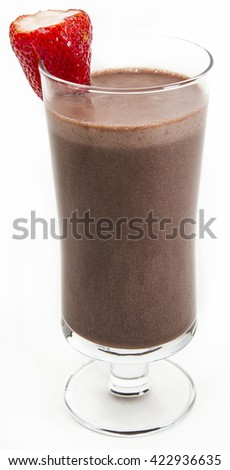 Chocolate milkshake with a strawberry on the side against a white background - stock photo