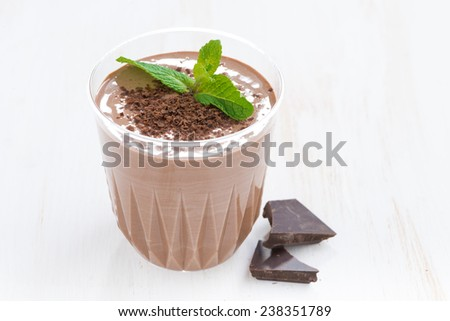 chocolate milkshake with mint in a glass on white background, close-up, horizontal - stock photo