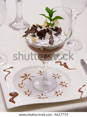 Chocolate moose dessert plater - stock photo