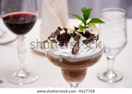 Chocolate mousse closeup shallow depth of field - stock photo