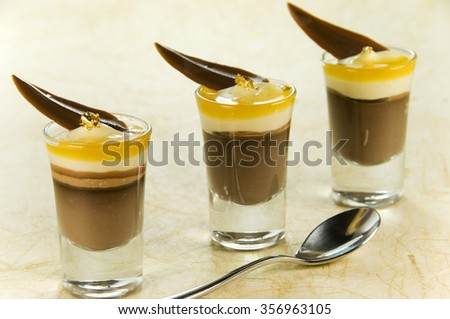Chocolate Mousse Desert In Glasses - stock photo