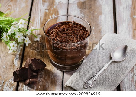 chocolate mousse in a glass - stock photo