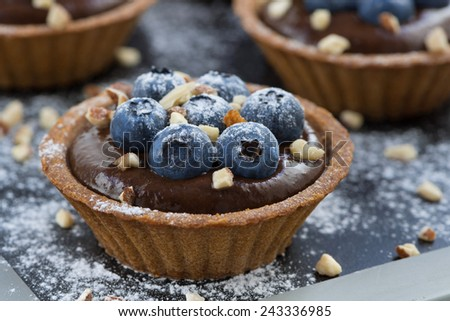 chocolate mousse in tartlets, close-up - stock photo