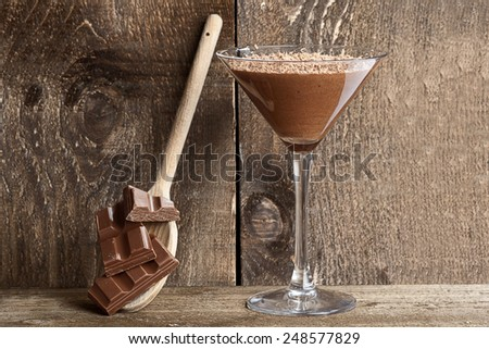 Chocolate mousse with chocolate shavings served in a Martini glass - stock photo