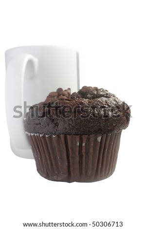 Chocolate muffin and a white cup of tea on white background