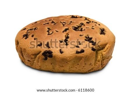 Chocolate Muffin Cake. Chocolate muffin cake isolated on white background - stock photo