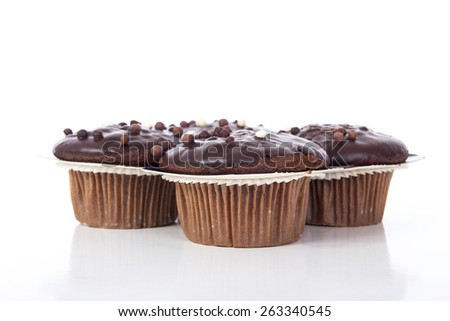 Chocolate muffin. Group of chocolate muffin.