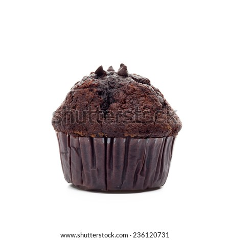 Chocolate muffin in paper baking cup isolated on white background