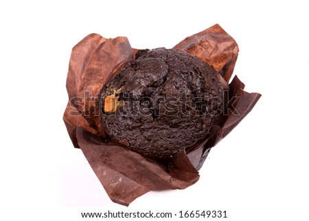 Chocolate Muffin isolated on a white background.