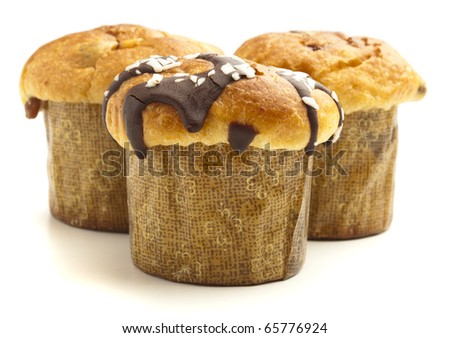 chocolate muffin isolated on a white background - stock photo