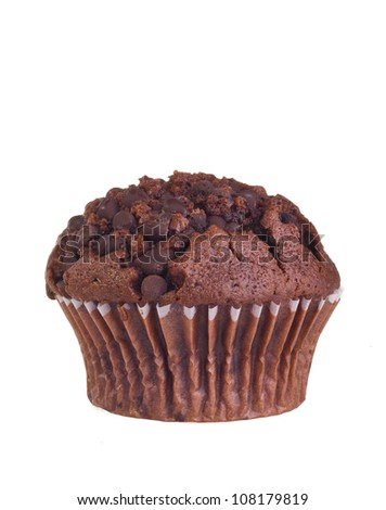 Chocolate muffin isolated on white background.