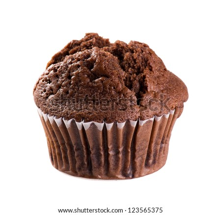 chocolate muffin isolated on white background