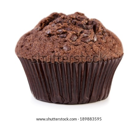 Chocolate muffin isolated on white background - stock photo