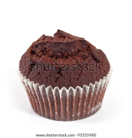 Chocolate muffin isolated on white background. - stock photo
