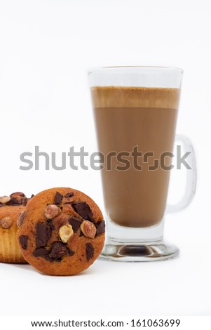 Chocolate Muffins and coffee latte