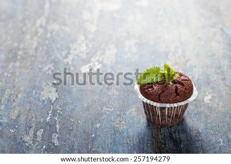 Chocolate muffins on wooden board - food and drink - stock photo