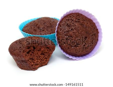 chocolate muffins over white - stock photo