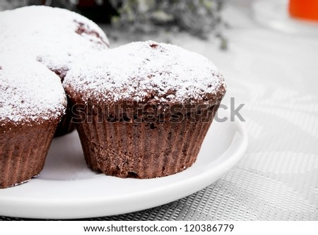 Chocolate muffins with sugar on white plate