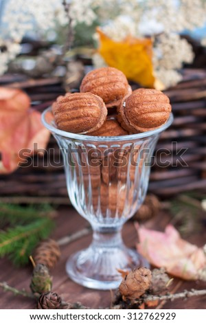 Chocolate Nuts dough in a glass vase