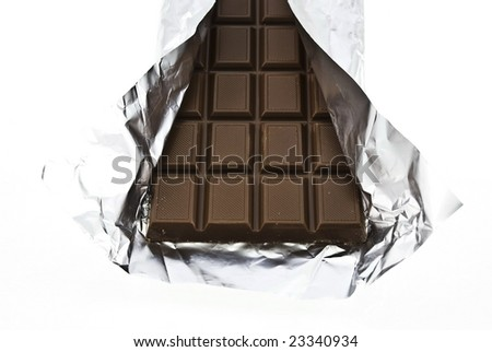 chocolate on a foil on a white background is isolated - stock photo