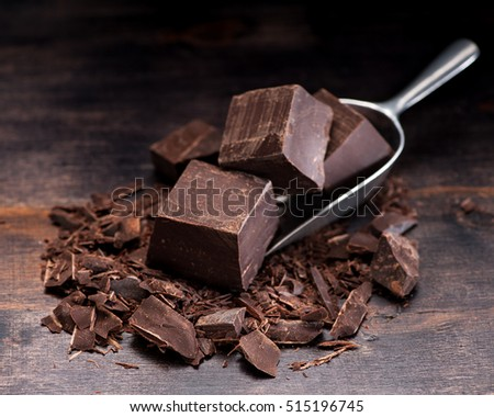 Chocolate on rustic background