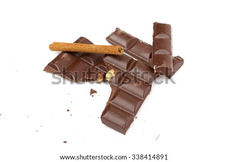chocolate on the white background