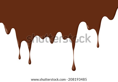 chocolate or brown paint drips, use as background - stock photo