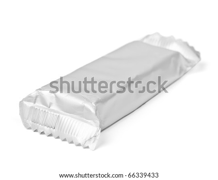 Chocolate or cereal bar  on white background - stock photo