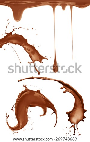 Chocolate or coffee splashes set  isolated on white background