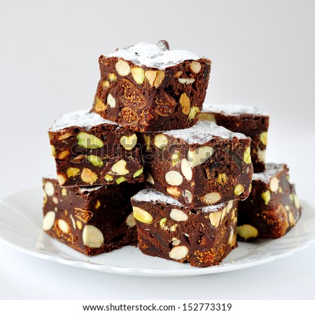 Chocolate Panforte Cubes - stock photo