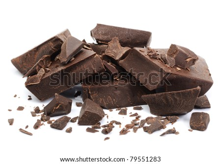 Chocolate parts on white background macro shot with shallow dof