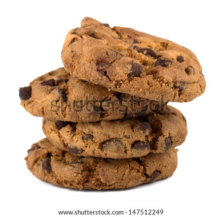 Chocolate pastry cookies isolated on white background - stock photo
