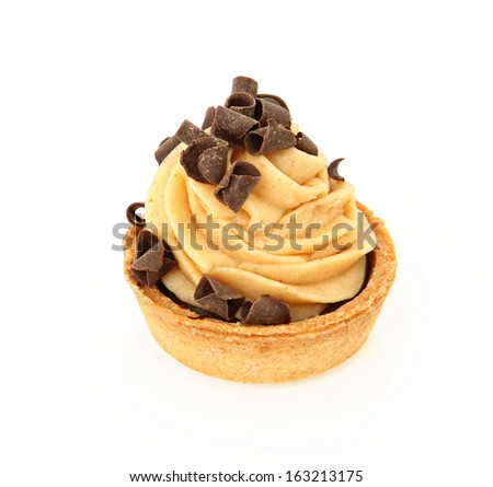 Chocolate Peanut Butter Tart Isolated On White Background - stock photo