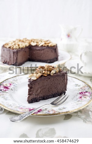 Chocolate Pie with Nuts on Plate