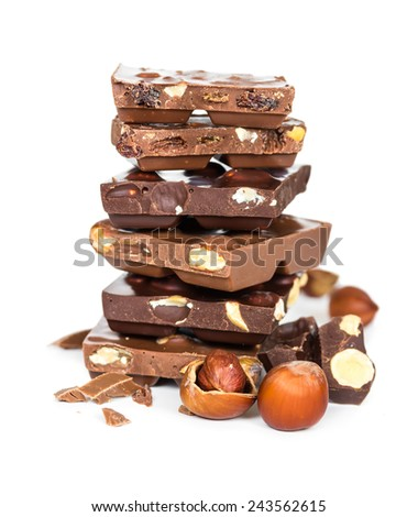 Chocolate pieces in a pile isolated on white background - stock photo