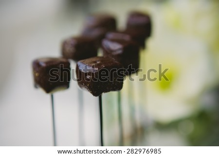 Chocolate pieces on a stick. Shallow dof - stock photo