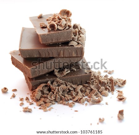 Chocolate pieces  over  white - stock photo