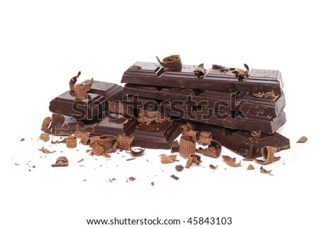 chocolate pieces white background