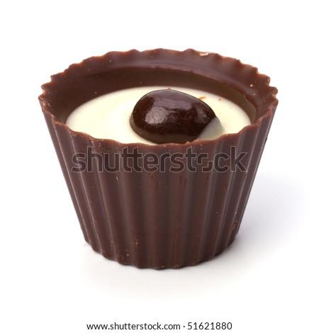 chocolate praline isolated on white background - stock photo