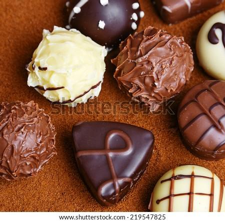 chocolate pralines close up - stock photo