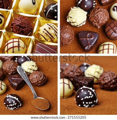 chocolate pralines - detail - stock photo
