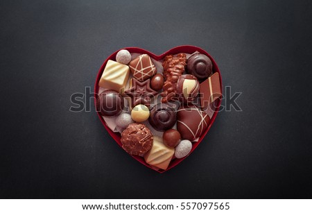 Chocolate pralines in heart shape box for Valentineâ??s day