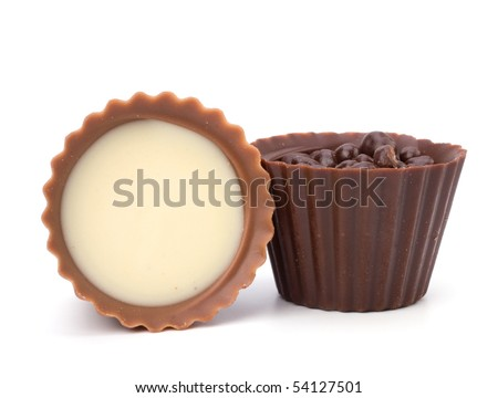 chocolate pralines isolated on white background - stock photo