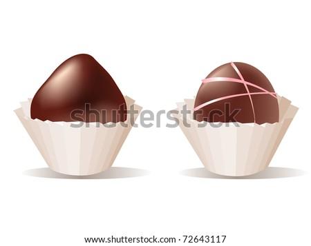 Chocolate pralines. Raster version. - stock photo