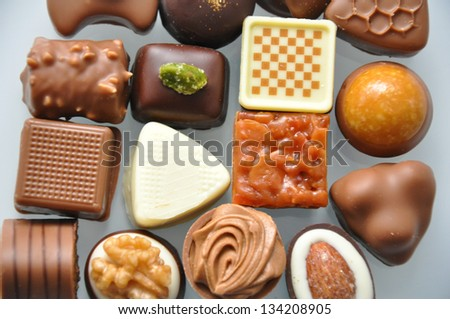 chocolate pralines truffles - stock photo