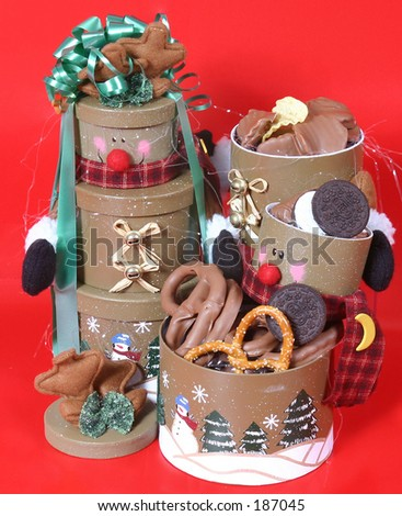 Chocolate pretzels, chips, and cookies. - stock photo