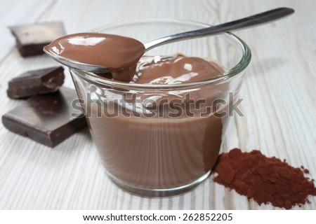 chocolate pudding in a glass bowl - stock photo